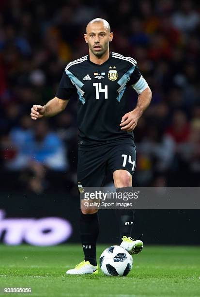Mascherano of Argentina in action during the international friendly match between Spain and Argentina at Wanda Metropolitano stadium on March 27 2018...