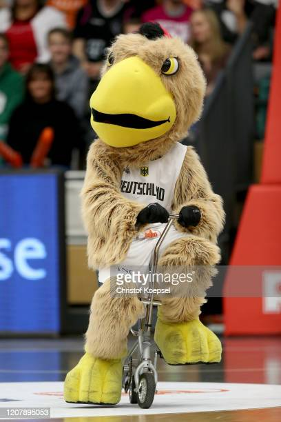Mascot Arnold of Germany during the Eurobasket 2012 Qualifiers match between Germany and France at RASTA Dome on February 21 2020 in Vechta Germany