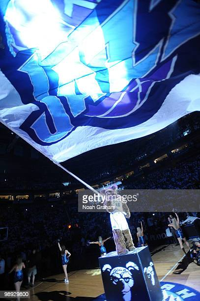 Mascot Bear waives a flag before the game between the Utah Jazz and the Los Angeles Lakers in Game Three of the Western Conference Semifinals during...