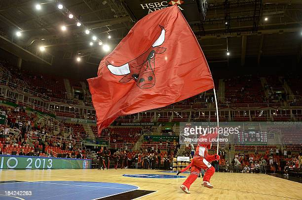 Mascot Benny of the Chicago Bulls after Chicago Bulls v Washington Wizards NBA Global Games Rio 2013 at Arena HSBC on October 12 2013 in Rio de...