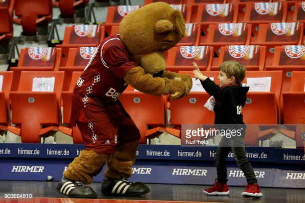 Mascot Berni during the EuroCup Top 16 Round 2 match between FC Bayern Munich and Lietuvos Rytas Vilnius at Audi Dome on January 10 2018 in Munich