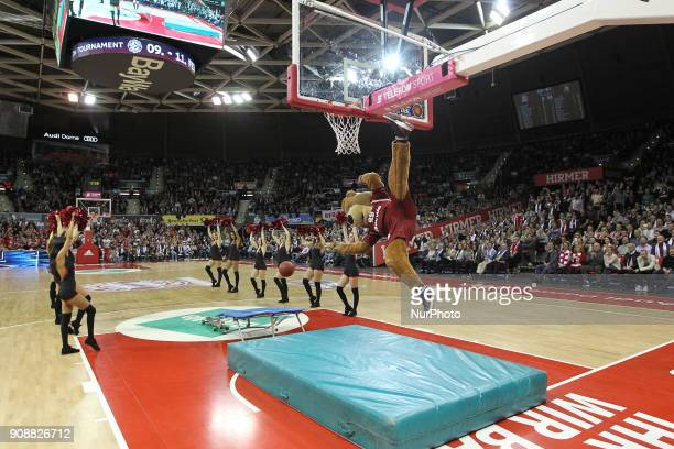 Mascot Berni of FC Bayern Munich during the Quarterfinal match in the BBL Pokal 2017/18 between FC Bayern Basketball and Brose Baskets Bamberg at the...