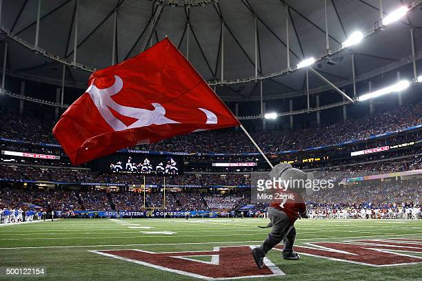 Mascot Big Al of the Alabama Crimson Tide carries a flag across the field in the third quarter during the SEC Championship game against the Florida...