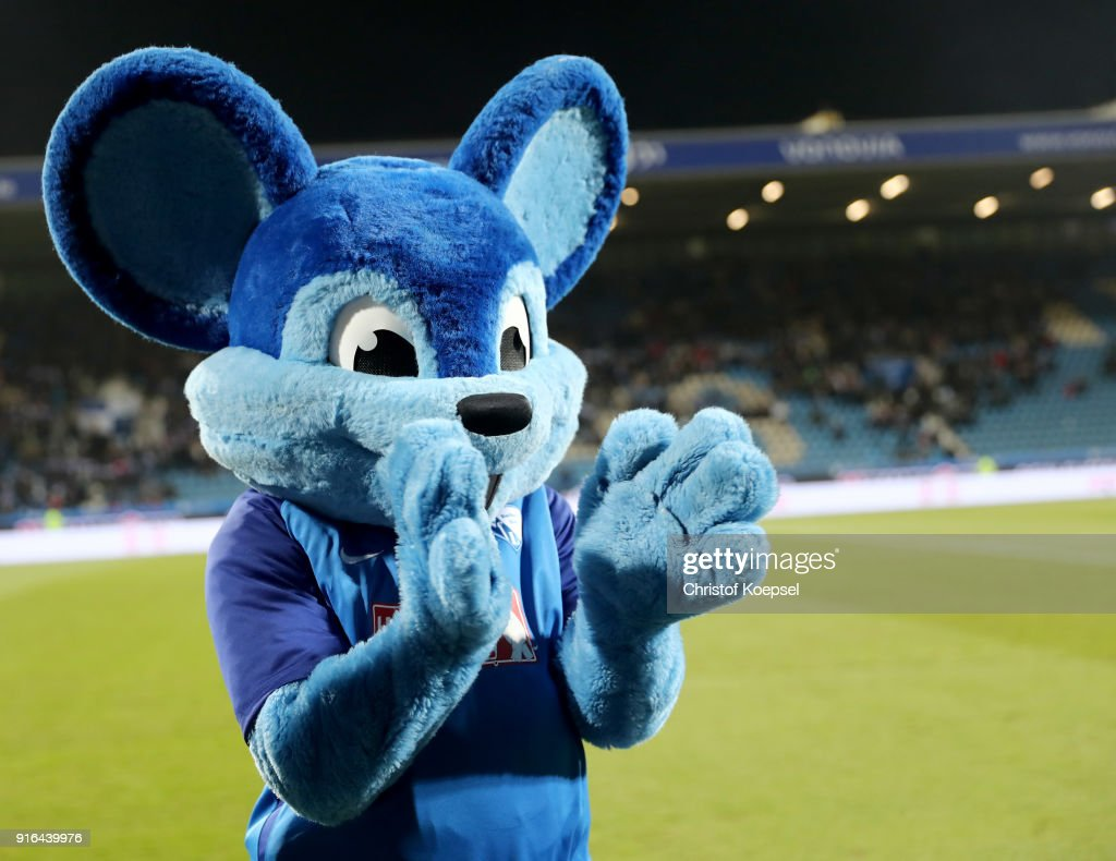 Mascot Bobby Bolzer of Bochum applauds During the Second Bundesliga match between VfL Bochum 1848 and SV Darmstadt 98 at Vonovia Ruhrstadion on February 9, 2018 in Bochum, Germany.The match between Bochum and Darmstadt ended 2-1.