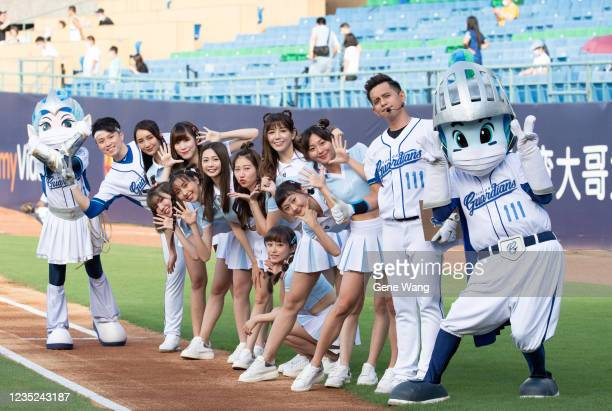 Mascot BonnieFubon Angels Mascot Frankie poses prior to the CPBL game between Fubon Guardians and CTBC Brothers at the Xinzhuang Baseball Stadium on...