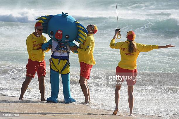 Mascot Borobi arrives by helicopter and is winched down to the beach during the Official Reveal of GC2018 Mascot and Two Years to Go Celebrations at...