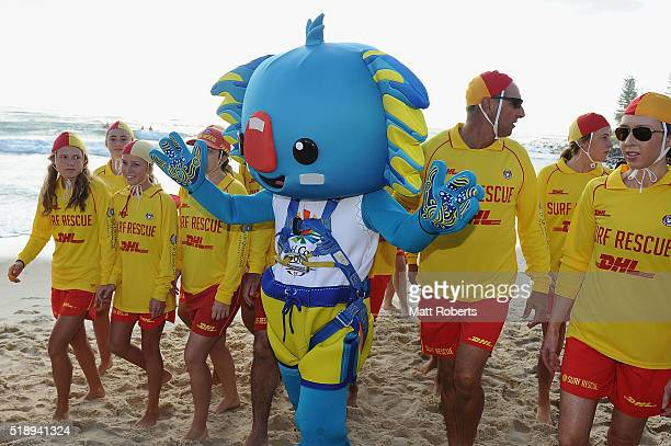 Mascot Borobi arrives on the beach during the Official Reveal of GC2018 Mascot and Two Years to Go Celebrations at Burleigh Heads Beach on April 4...