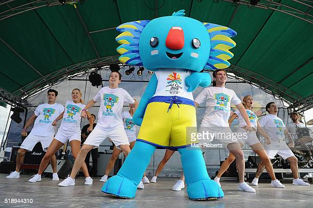 Mascot Borobi on stage during the Official Reveal of GC2018 Mascot and Two Years to Go Celebrations at Burleigh Heads Beach on April 4 2016 in Gold...
