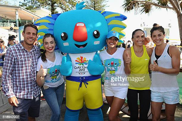 Mascot Borobi poses with triathletes Courtney Atkinson Emma Moffatt and Ashleigh Gentle during the Official Reveal of GC2018 Mascot and Two Years to...
