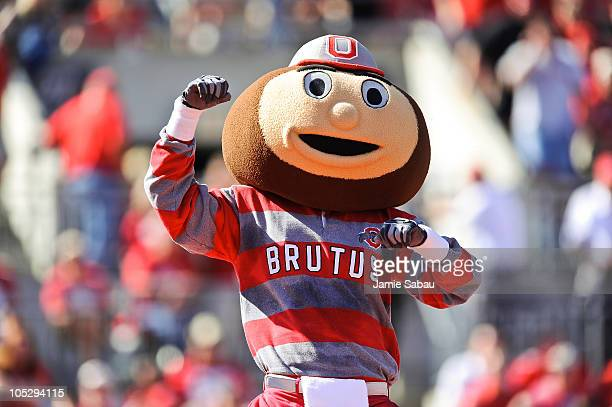 Mascot Brutus Buckeye of the Ohio State Buckeyes cheers on the team during a game against the Indiana Hoosiers at Ohio Stadium on October 9 2010 in...