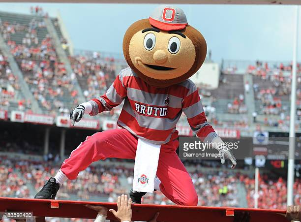 Mascot Brutus the Buckeye celebrates after a Ohio State touchdown during a game against the Buffalo Bulls at Ohio Stadium in Columbus Ohio The Ohio...