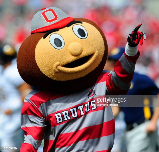 Mascot Brutus the Buckeye reacts to the play on the field during a game between the Ohio State Buckeyes and the California Bears on September 15 2012...