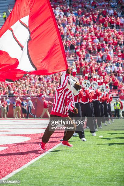 UW mascot Bucky Badger runs onto the field prior to an NCAA football game between the Florida Atlantic Owls and the Wisconsin Badgers on September 9...