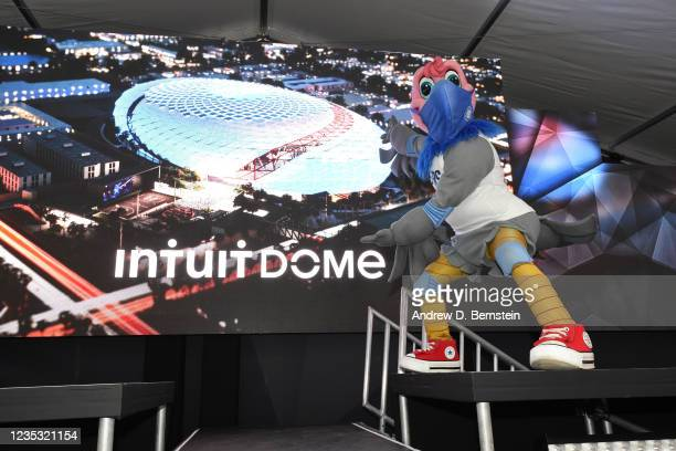 Mascot Chuck of the LA Clippers poses during the ground breaking on Intuit Dome on September 17, 2021 in Inglewood, California. NOTE TO USER: User...