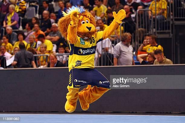 Mascot 'Conny' of RheinNeckar Loewen jumps during the Toyota Handball Bundesliga match between Rhein Neckar Loewen and HSV Hamburg at SAP Arena on...