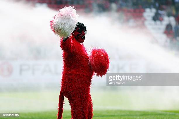 A mascot dressed as red devil cheers prior to the Second Bundesliga match between 1 FC Kaiserslautern and VfL Bochum at FritzWalterStadion on April 6...