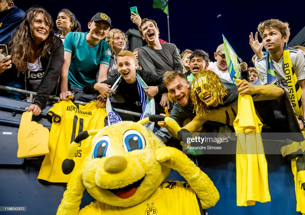 Mascot Emma Of Borussia Dortmund Together With The Fans After The News Photo Getty Images