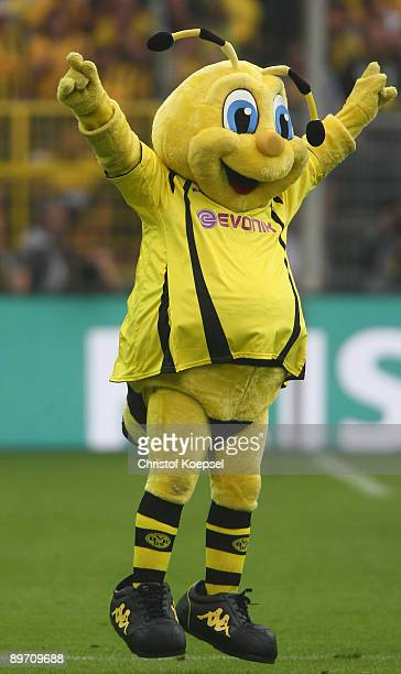 Mascot Emma of Dortmund celebrates the 1-0 victor after the Bundesliga match between Borussia Dortmund and 1. FC Koeln at the Signal Iduna Park on...