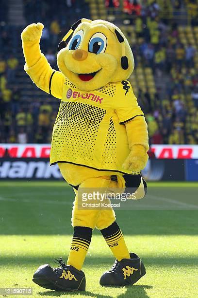 Mascot Emma of Dortmund celebrates the 20 victory after the Bundesliga match between Borussia Dortmund and 1 FC Nuernberg at Signal Iduna Park on...