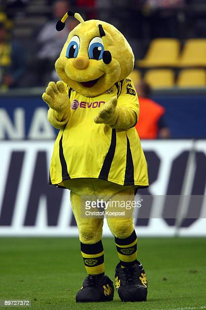 Mascot Emma of Dortmund celebrates the victory during the Bundesliga match between Borussia Dortmund and 1 FC Koeln at the Signal Iduna Park on...