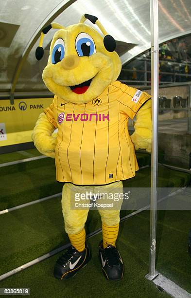 Mascot Emma of Dortmund poses before the Bundesliga match between Borussia Dortmund and VfL Wolfsburg at the Signal Iduna Park on November 30 2008 in...