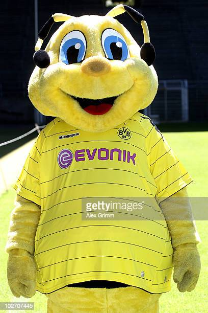 Mascot 'Emma' poses for a photo during the team presentation of Borussia Dortmund at the Signal Iduna Park on July 7 2010 in Dortmund Germany