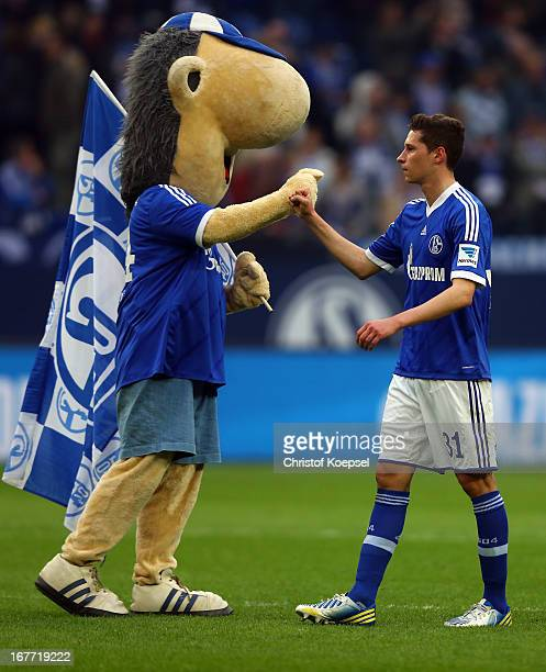 Mascot Erwin and Julian Draxler of Schalke celebrate afte the Bundesliga match between FC Schalke 04 and Hamburger SV at VeltinsArena on April 28...