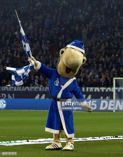 Mascot Erwin of FC Schalke 04 is seen before the Bundesliga soccer match between FC Schalke 04 and Bayer Leverkusen at the Veltins Arena stadium in...