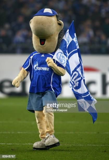 Mascot Erwin of Schalke is seen during the Bundesliga match between FC Schalke 04 and Hertha BSC Berlin at the VeltinsArena on December 6 2008 in...