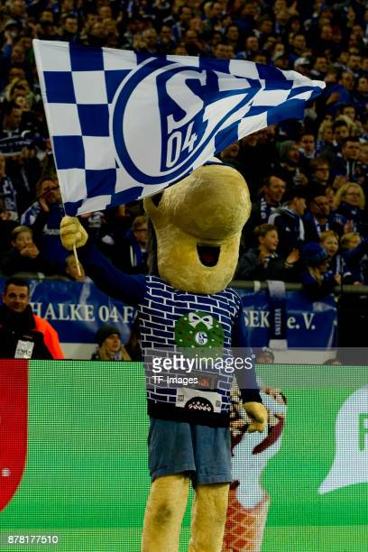 Mascot Erwin of Schalke looks on during the Bundesliga match between FC Schalke 04 and Hamburger SV at VeltinsArena on November 19 2017 in...