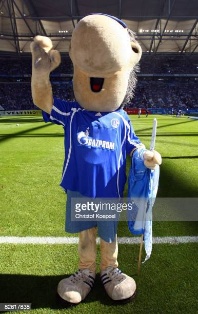 Mascot Erwin of Schalke waves before the Bundesliga match between FC Schalke 04 and VfL Bochum at the Veltins Arena on August 30 2008 in...