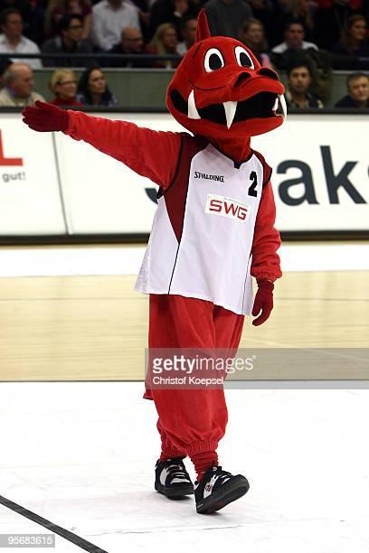 Mascot Fabius of Giessen is seen during the Beko Basketball Bundesliga match between LTi Giessen 46ers and Deutsche Bank Skyliners at Sports Hall...