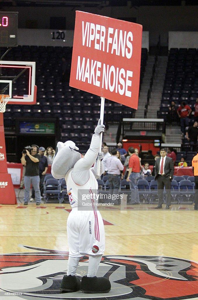 Mascot Fang of the Rio Grande Valley Vipers holds a sign as they play against the Iowa Energy on April 8, 2014 during game one first round of the 2014 NBA-Development League playoffs at the State Farm Arena in Hidalgo, Texas.