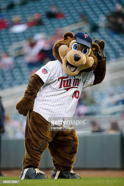 C mascot for the Minnesota Twins performs before game two of a doubleheader against the Toronto Blue Jays on April 17 2014 at Target Field in...
