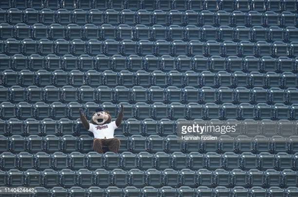 Mascot for the Minnesota Twins, sits in an empty upper deck section during the fourth inning of the game between the Minnesota Twins and the Houston...