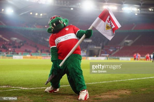 mascot 'fritzle' celebrates after the dfb cup quarter