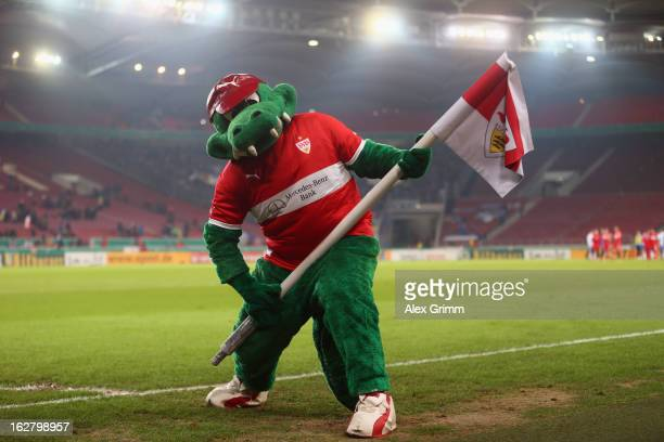 Mascot 'Fritzle' celebrates after the DFB Cup Quarter Final match between VfB Stuttgart and VfL Bochum at the MercedesBenz Arena on February 27 2013...