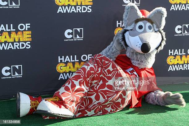 Mascot from Kansas City Chiefs arrives at the 3rd Annual Cartoon Network's 'Hall Of Game' Awards held at Barker Hangar on February 9 2013 in Santa...