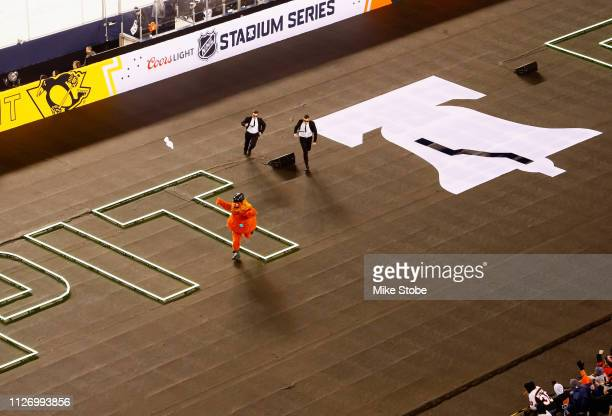 Mascot Gritty of the Philadelphia Flyers entertains the stadium fans during the 2019 Coors Light NHL Stadium Series game between the Pittsburgh...