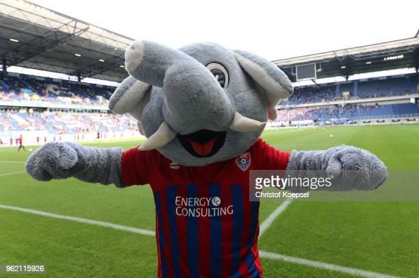Mascot Grotifant of Uerdingen looks on prior to the Third League Playoff first leg match between KFC Uerdingen and Waldhof Mannheim at...