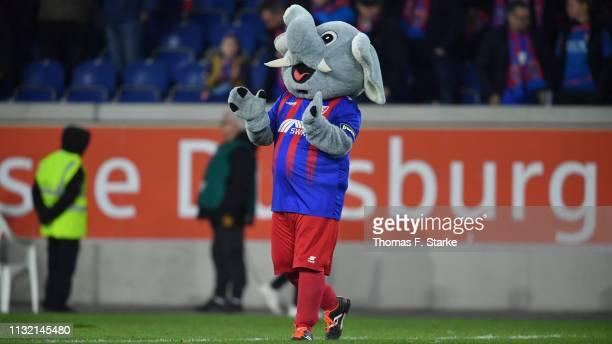 Mascot Grotifant reacts during the 3 Liga match between KFC Uerdingen 05 and SC Preussen Muenster at SchauinslandReisenArena on February 25 2019 in...