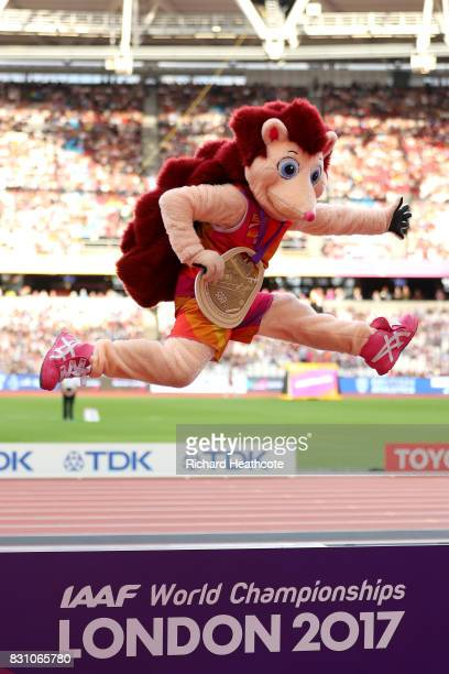 Mascot Hero the Hedgehog jumps on the podium after being presented with a medal during day ten of the 16th IAAF World Athletics Championships London...