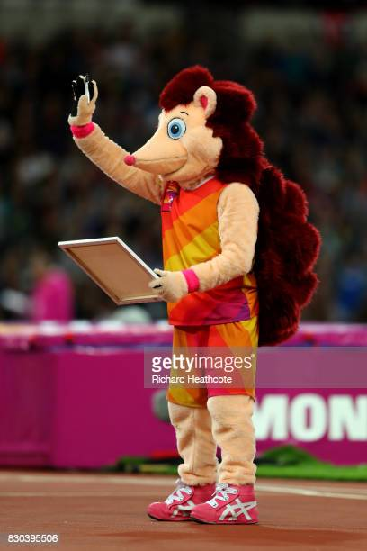 mascot Hero the Hedgehog waves the crowd during day eight of the 16th IAAF World Athletics Championships London 2017 at The London Stadium on August...