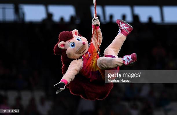Mascot Hero the Hedgehog ziplines into the stadium during day ten of the 16th IAAF World Athletics Championships London 2017 at The London Stadium on...