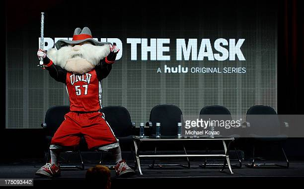 UNLV mascot Hey Reb performed by Jon 'Jersey' Goldman appears onstage during the 'Behind the Mask' portion of the Hulu 2013 Summer TCA Tour at The...