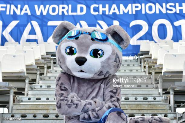 Mascot Itil poses on the viewing stands of the Water Polo Arena during the 16th FINA Swimming World Championships in Kazan Russia 26 July 2015 Photo...