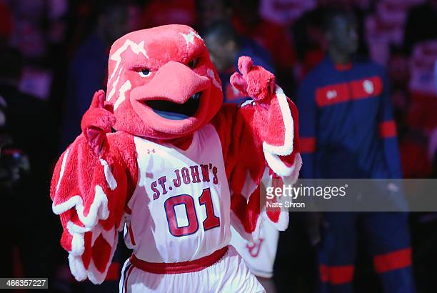 Mascot Johnny the Thunderbird of the St John's Red Storm cheers on the court prior to the game against the Marquette Golden Eagles at Madison Square...