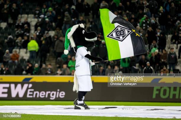 Mascot Juenter of Borussia Moenchengladbach in action during the Bundesliga match between Borussia Moenchengladbach and 1FC Nuernberg at BorussiaPark...