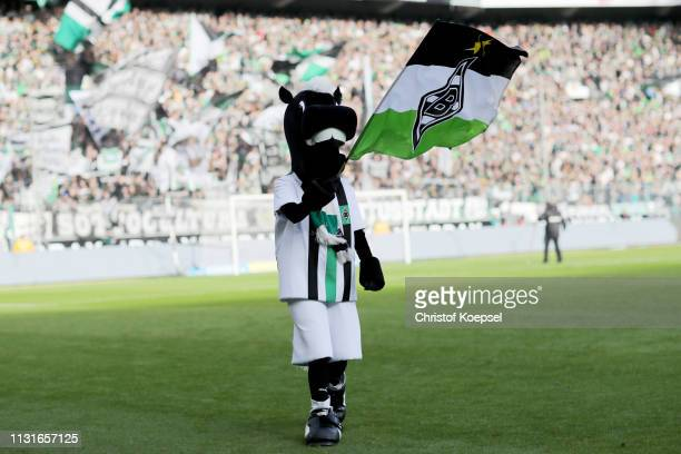 Mascot Juenter of Moenchengladbach is seen prior to the Bundesliga match between Borussia Moenchengladbach and VfL Wolfsburg at BorussiaPark on...