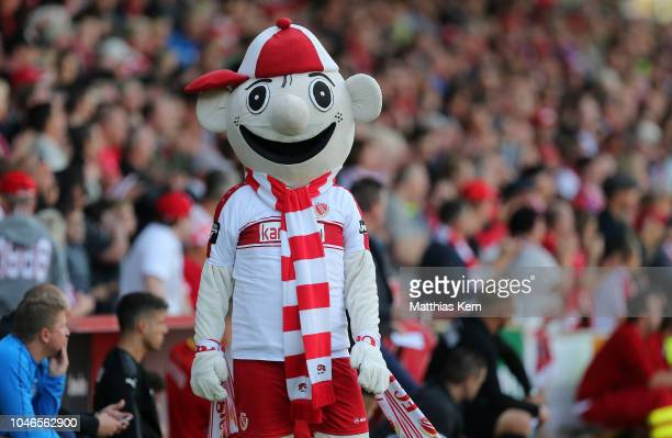 Mascot Lauzi of Cottbus is pictured during the 3. Liga match between FC Energie Cottbus and FSV Zwickau at Stadion der Freundschaft on October 6,...